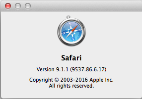 Safari 9.1.1 About box