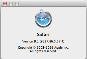 Safari 9.1 About box